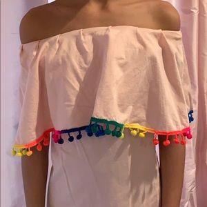 Girls Pom Pom dress/ cover up